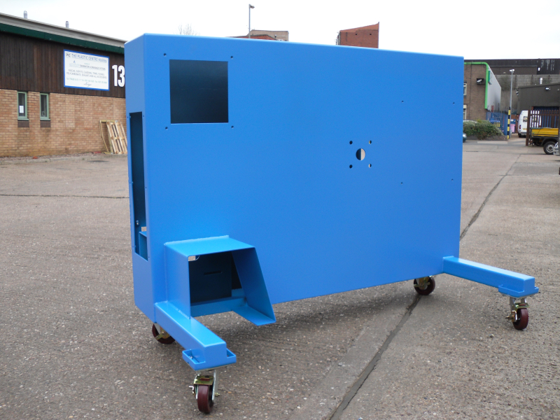 Machine fabrication blue powder coated finish