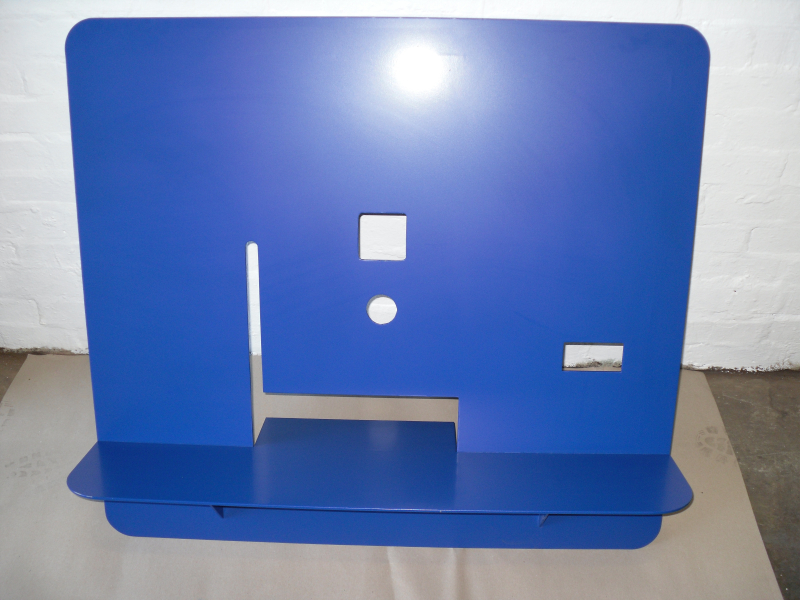 Book sorter fabrication blue powder coated finish