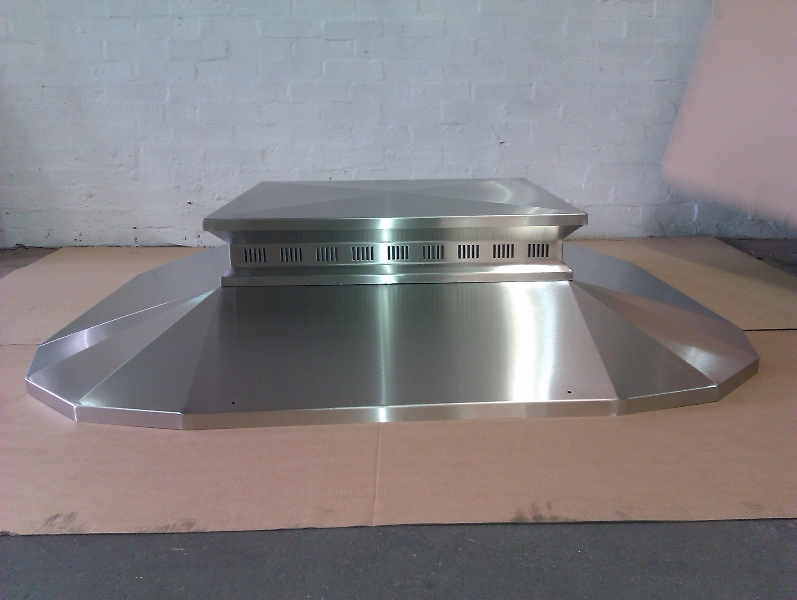 Hood fabrication manufactured from 304 stainless steel sateen finish